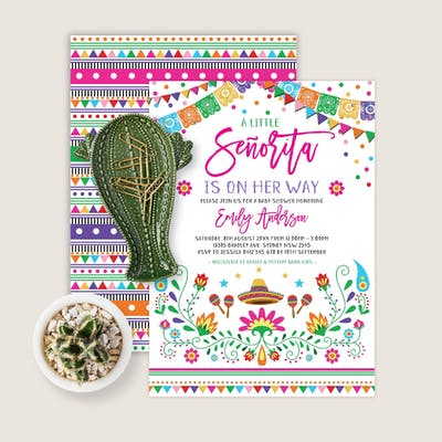 Mexican Fiesta Little Senorita Baby Shower Invite