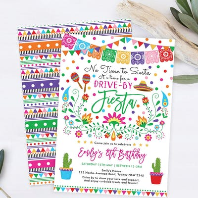 Mexican Fiesta Drive by Birthday Party Invite