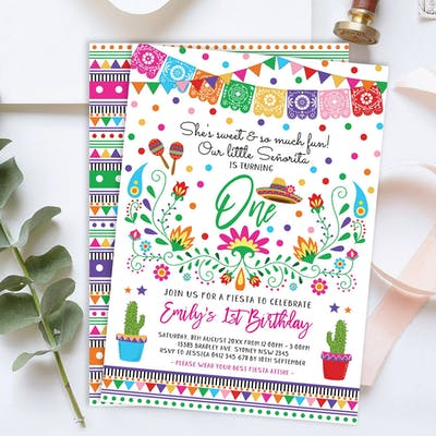 Mexican Fiesta Little Senorita Birthday Invite
