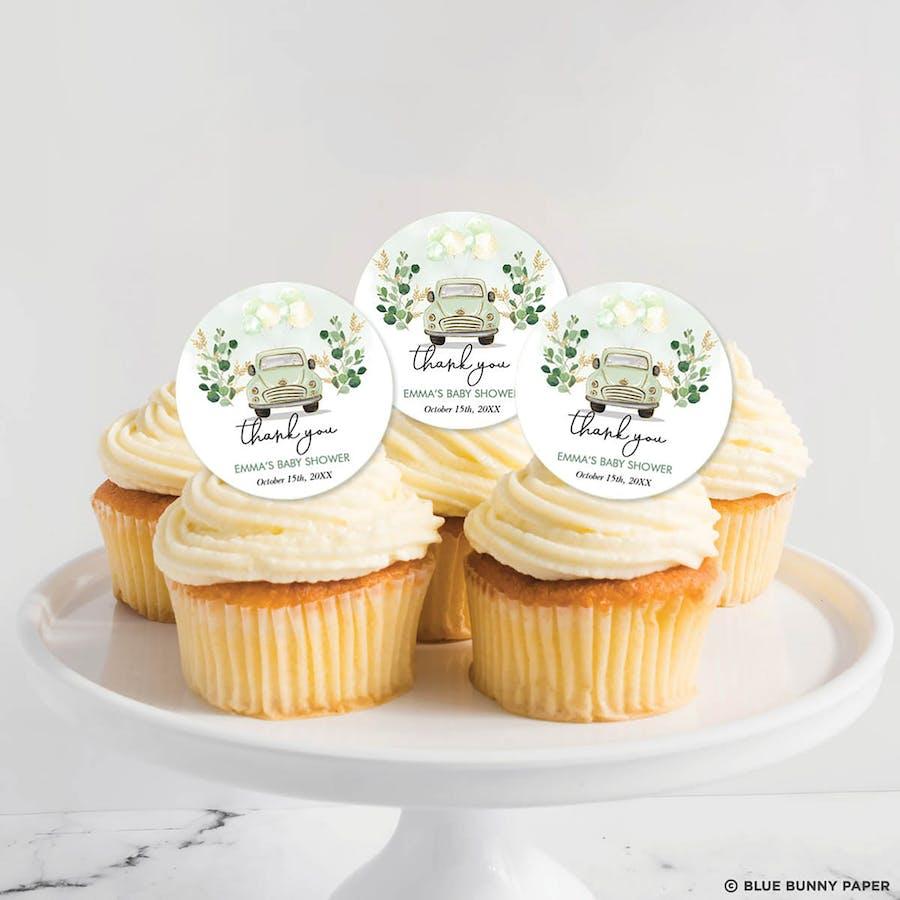Green Car Cupcake Topper