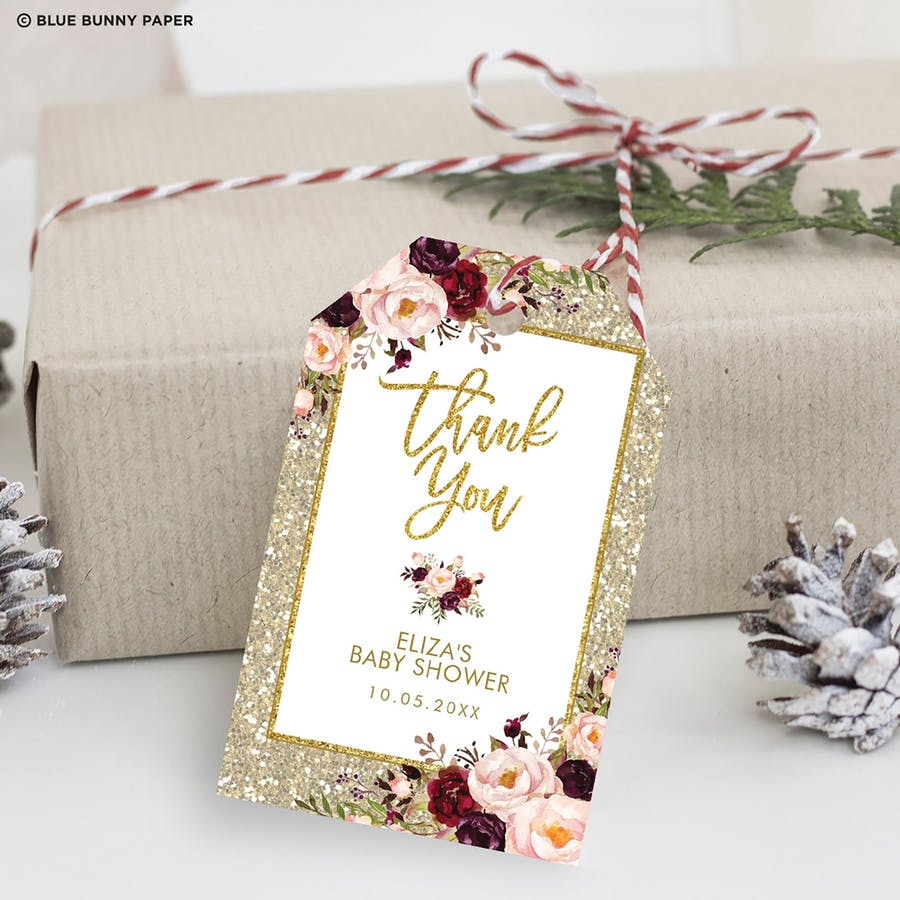 Gold Glitter Favor Tags