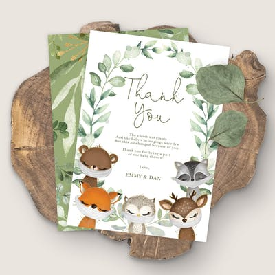 Woodland Baby Shower Thank You Card