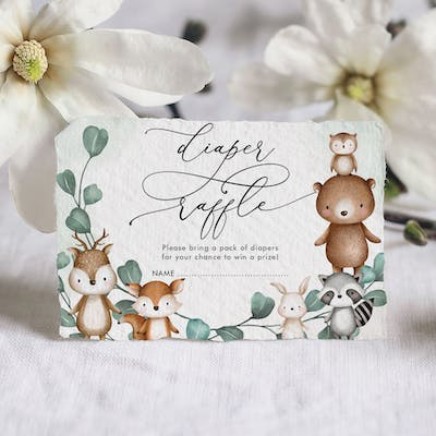 Woodland Animals Baby Shower Diaper Raffle Card