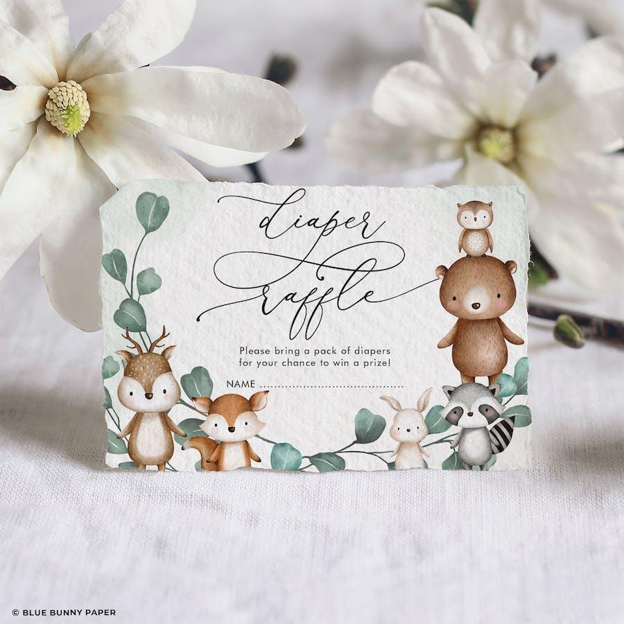 Woodland Animals Baby Shower Diaper Raffle Card