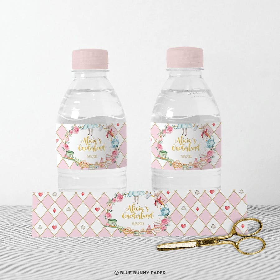 Alice in Wonderland Water Bottle Labels