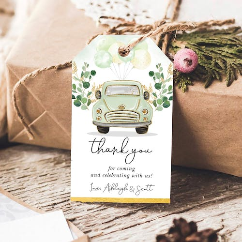 Green Car Party Favor Tags