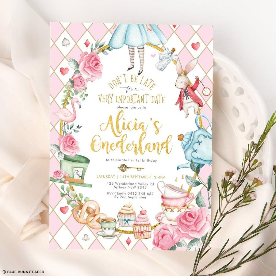 Alice in Wonderland 1st Birthday Invitation