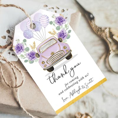 Purple Party Favor Tags