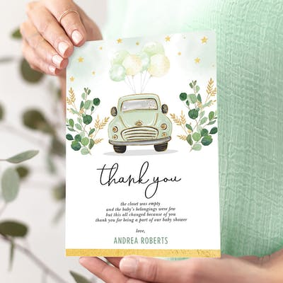Green Car Baby Shower Thank You Card