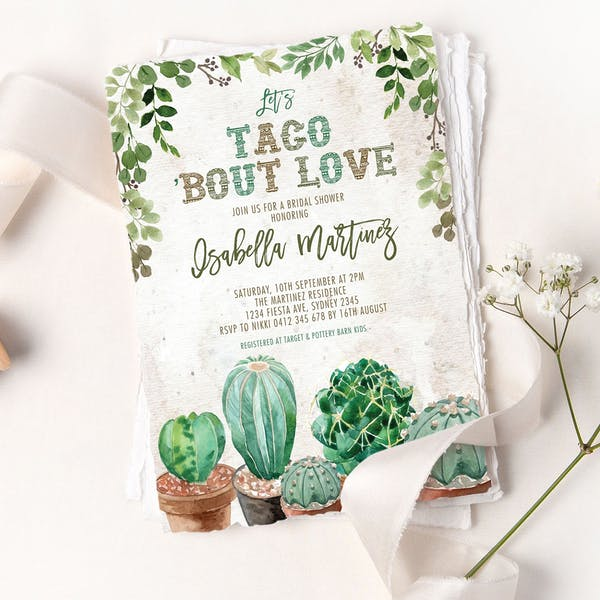Bridal Shower Invite - Rustic Cactus