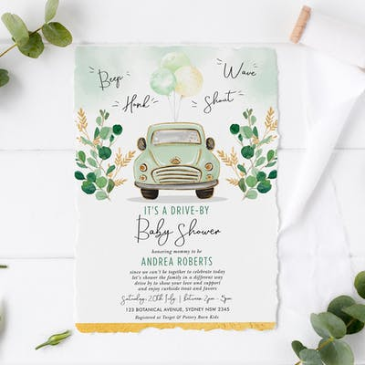 Drive By Baby Shower Invite