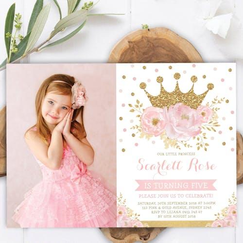 Princess Photo Birthday Invitation