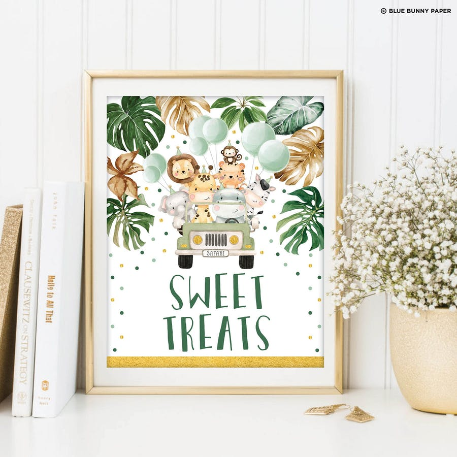 Jungle Animals Sweet Treats Party Sign