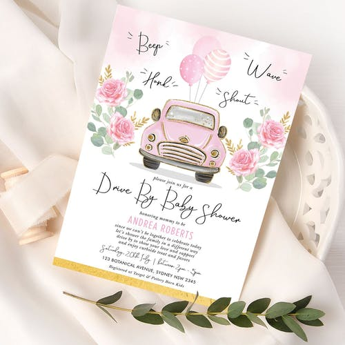 Pink Drive By Baby Shower Invite