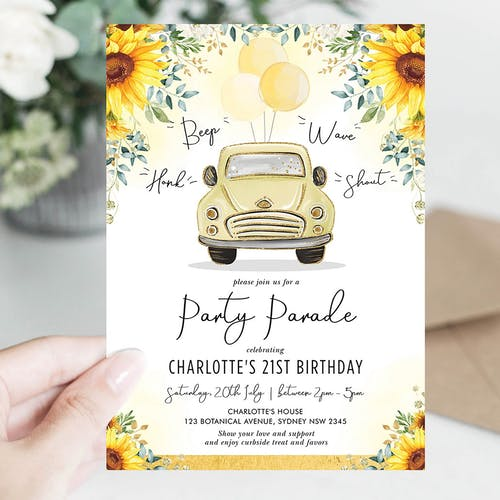 Birthday Party Parade Invite