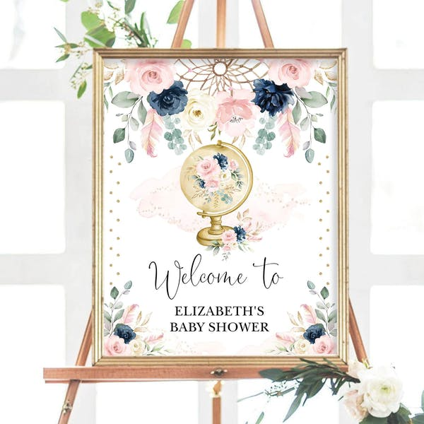 Baby Shower Welcome Sign - Bohemian Wanderlust