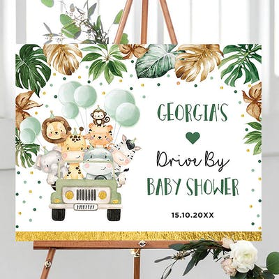 Drive by Baby Shower Welcome Sign