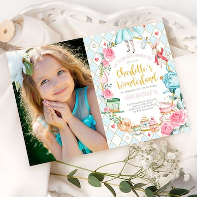 Alice in Wonderland Photo Birthday Invite