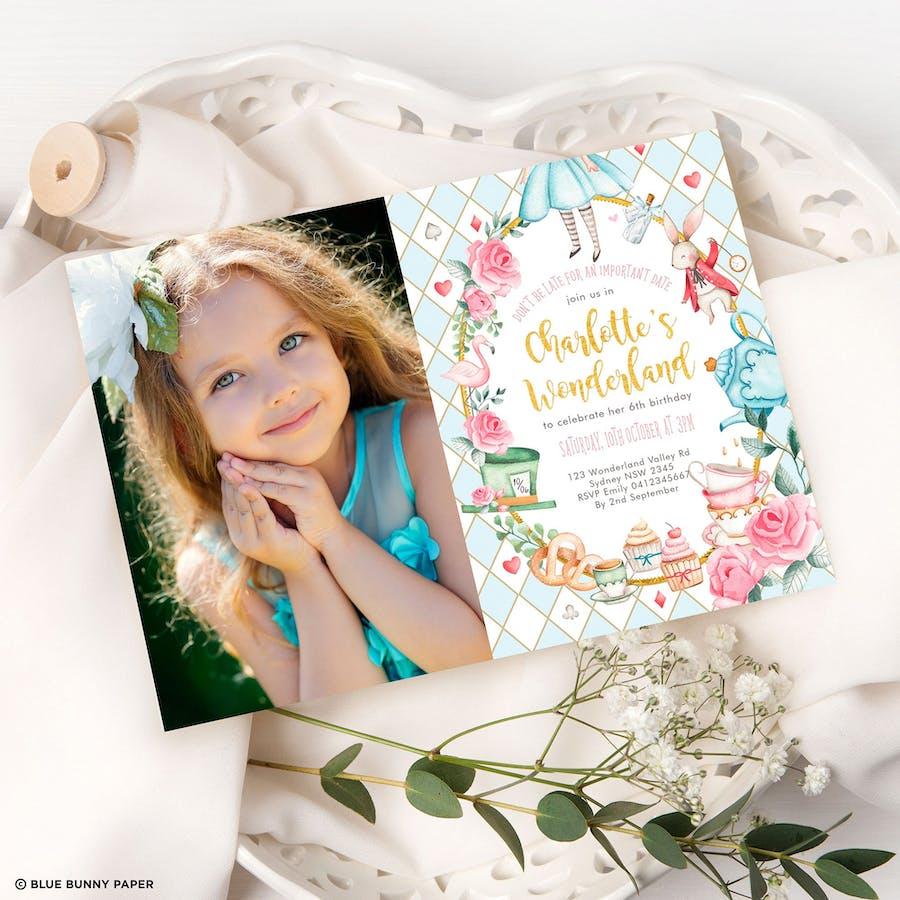 Alice in Wonderland Photo Birthday Invite