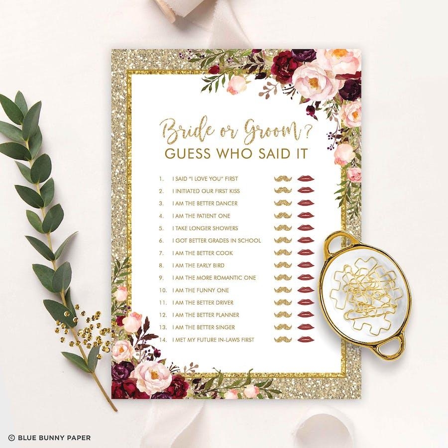 Bride or Groom Bridal Shower Game