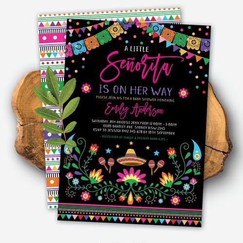 Mexican Fiesta Little Senorita Baby Shower Invite