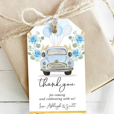 Blue Party Favor Tags