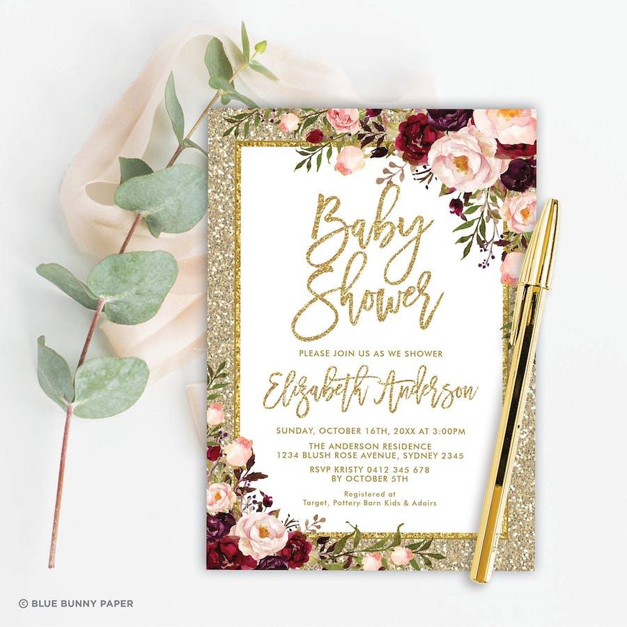 Gold Glitter Baby Shower Invitation