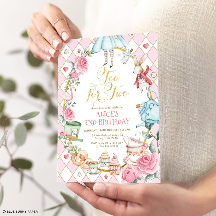 Alice in Wonderland Tea for Two Birthday Invitation