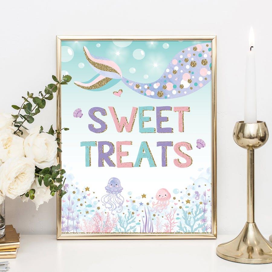 Mermaid Sweet Treats Party Sign
