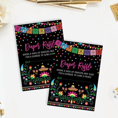 Mexican Fiesta Baby Shower Diaper Raffle Card