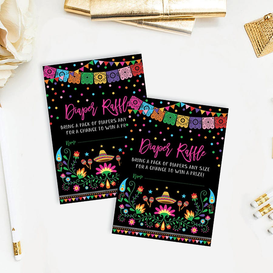 Mexican Fiesta Baby Shower Diaper Raffle Card