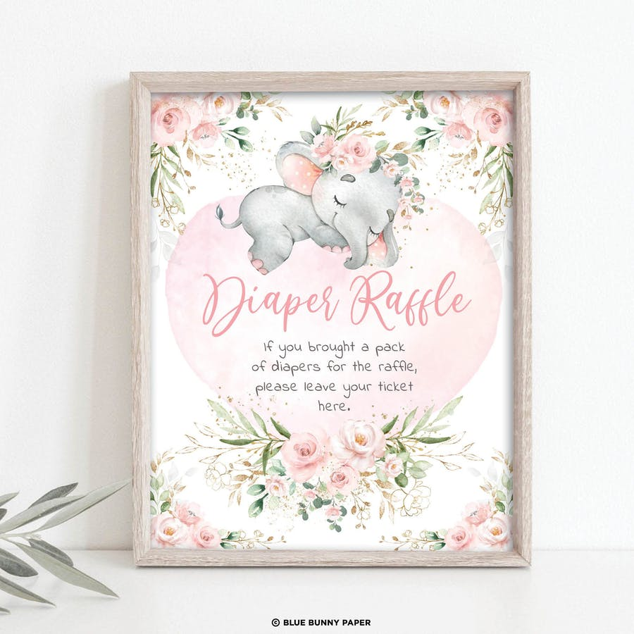 Girl Elephant Diaper Raffle Party Sign