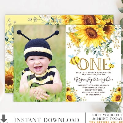 Bumble Bee Birthday Photo Invitation