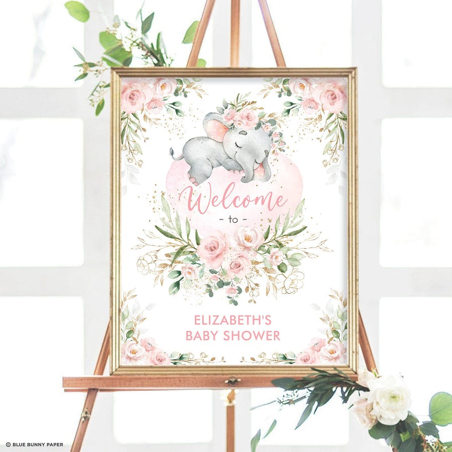 Girl Elephant Baby Shower Welcome Sign