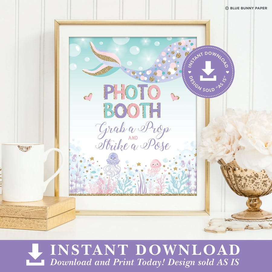 Mermaid Photo Booth Party Sign