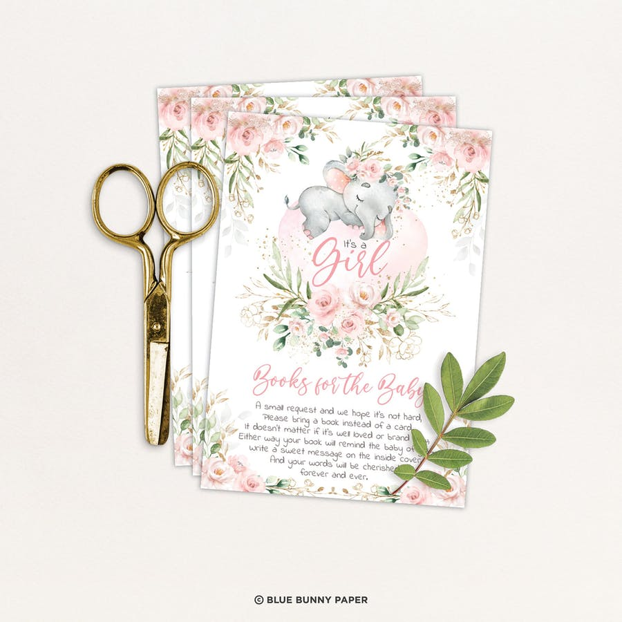 Girl Elephant Book for the Baby Card