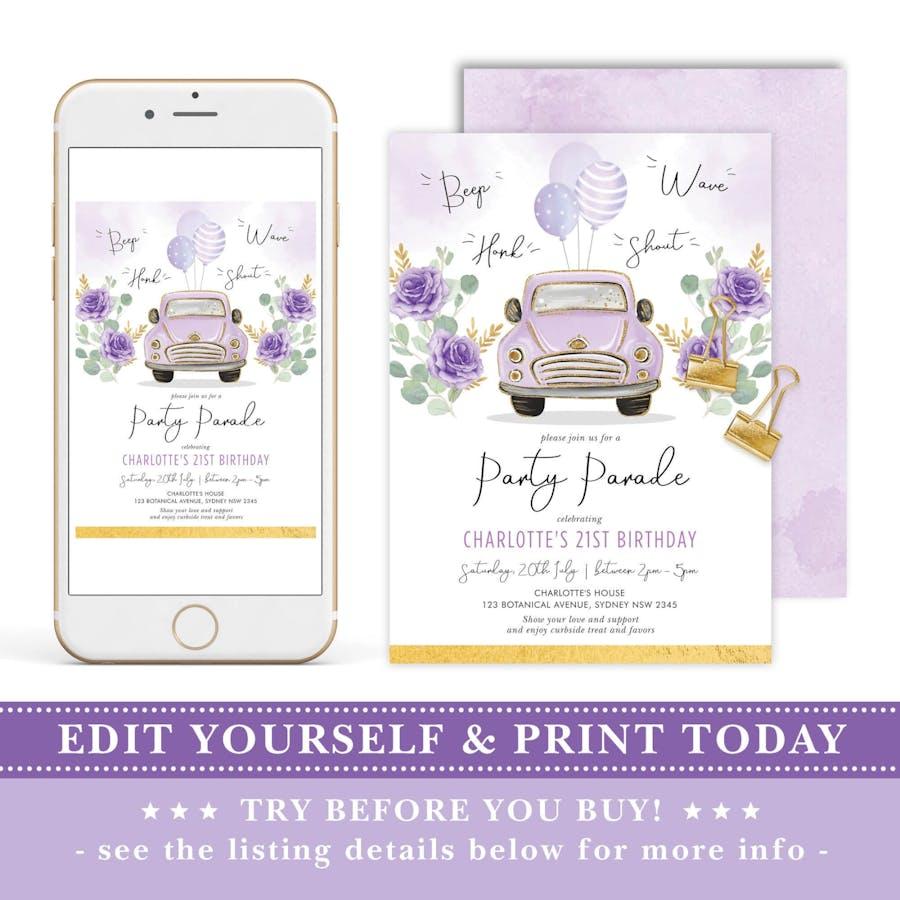 Purple Car Birthday Party Parade Invite