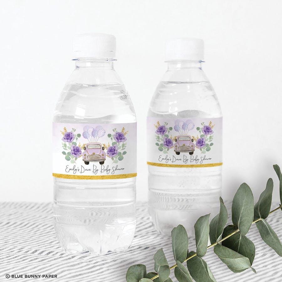 Purple Car Water Bottle Labels