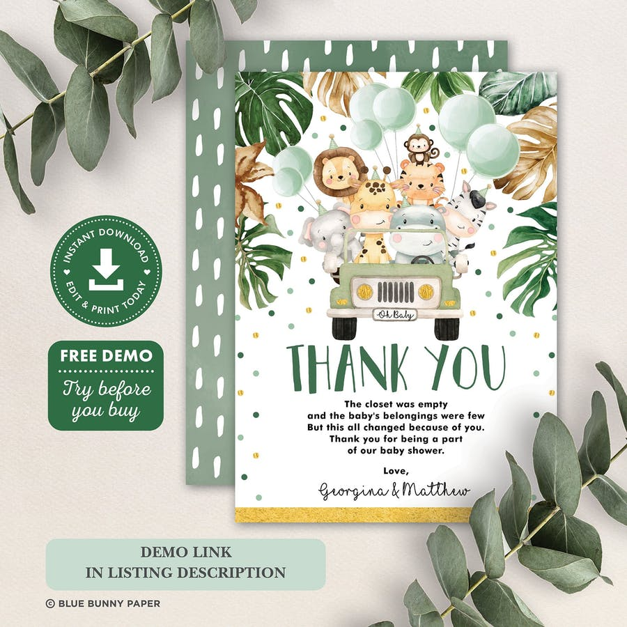 Jungle Animals Thank You Card