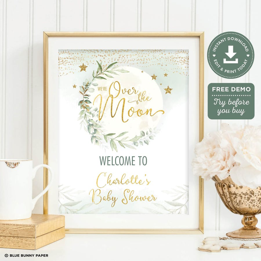 Over the Moon Baby Shower Welcome Sign