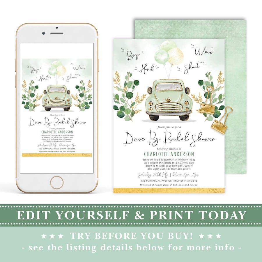Drive Through Bridal Shower Invite