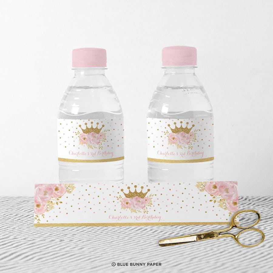 Princess Party Water Bottle Labels
