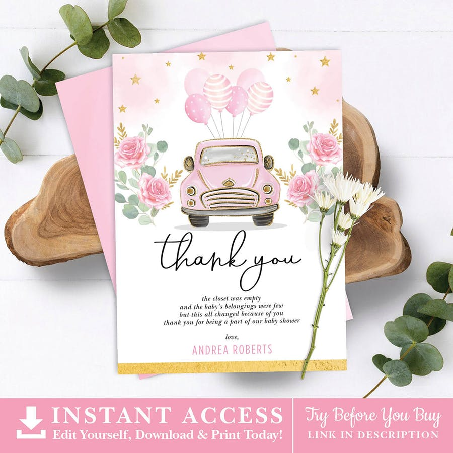 Pink Car Baby Shower Thank You Card