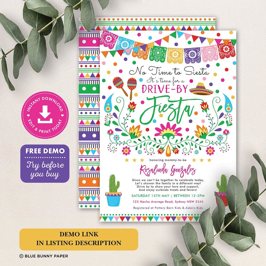 Mexican Fiesta Drive by Baby Shower Invitation