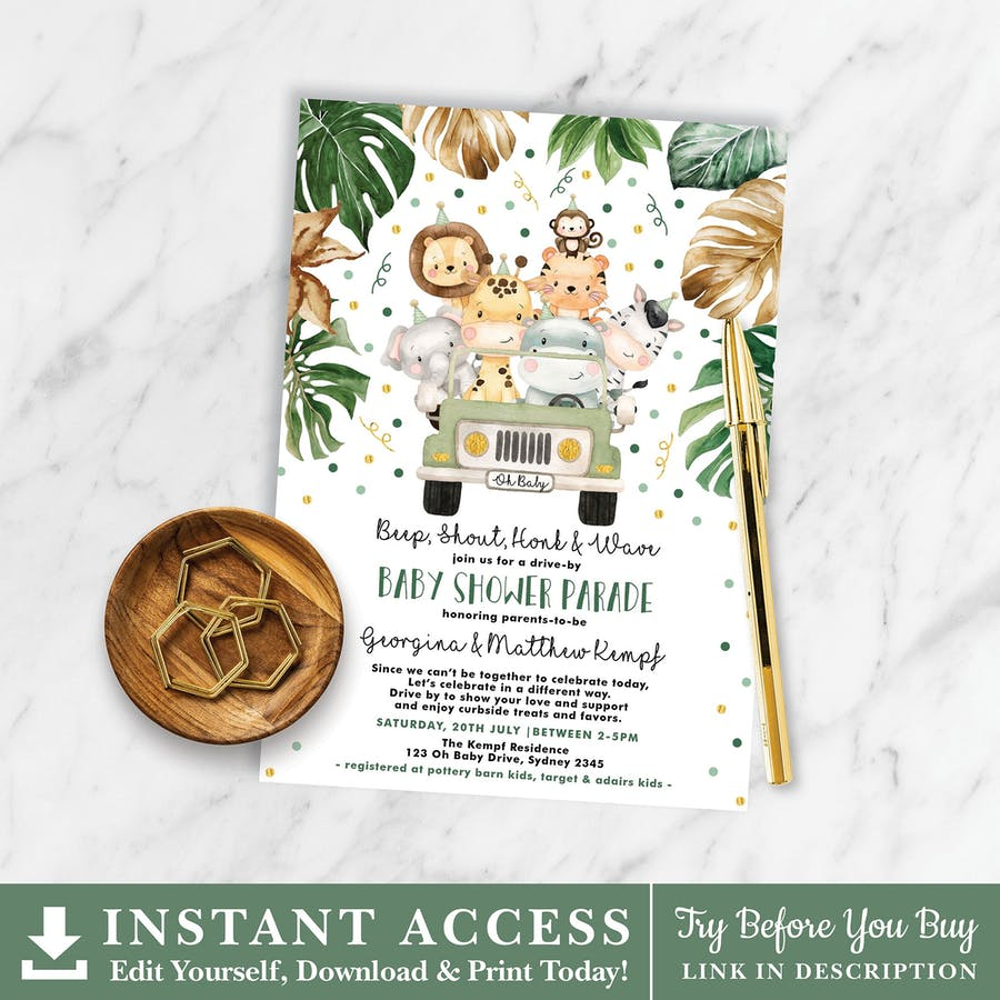 Jungle Drive By Baby Shower Invitation