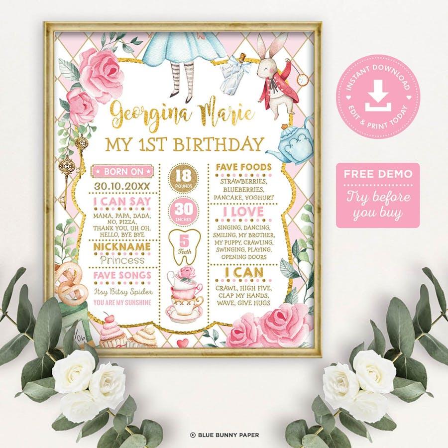 Alice in Wonderland 1st Birthday Milestone Poster