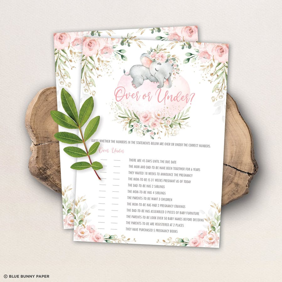 Elephant Over or Under Baby Shower Game