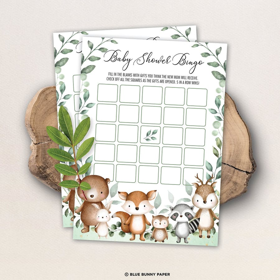 Woodland Baby Shower Bingo Game Card