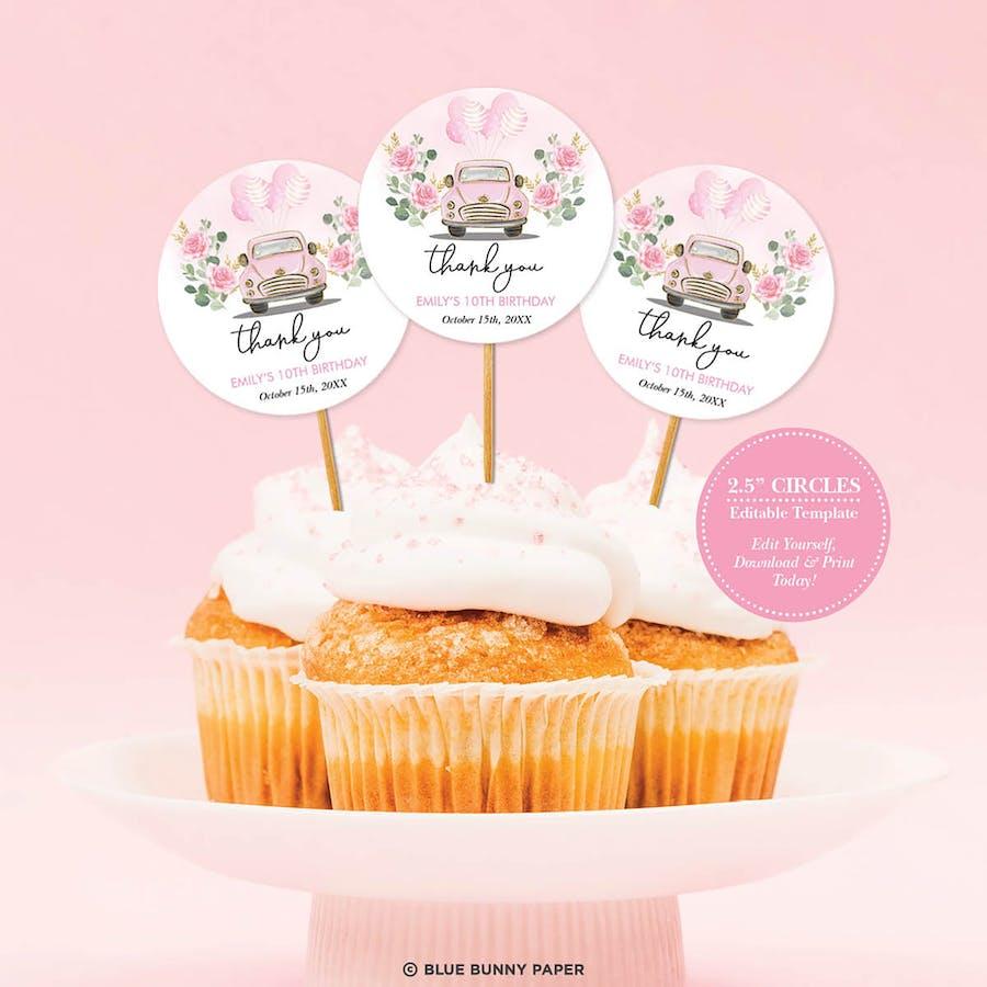 Pink Car Cupcake Topper