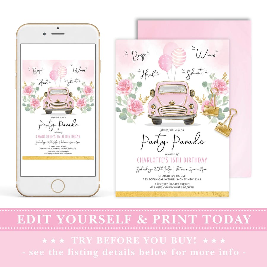 Pink Car Birthday Party Parade Invitation